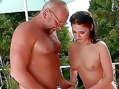 Lucky grandpa and pretty girl pissing and fucking