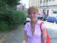 Czech amateur ballerina flashing and fucking in public