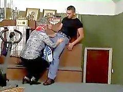 Hairy Gummy Granny in Stockings Sucks and Fucks