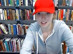 Cute college babe flashing in library