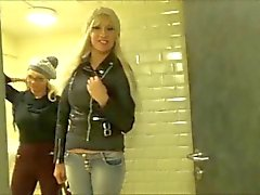 Double-POV (Two German Babes) Public MacDonald's Toilet