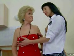 Granny and young beauty licking thier cunts