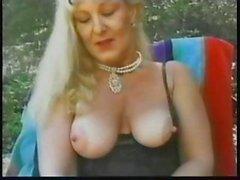 Busty blonde mature Lynn Ross eats cock and fucks outdoors
