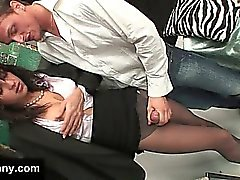 Businessman seducing a chick with a dick