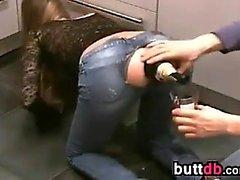 Sticking A Glass Bottle In Her Butt