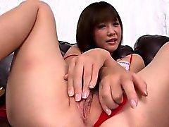 Momoka Rin shows off in red lingerie masturbating