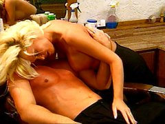 Blonde fucking her customer