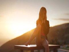 Sunset in Malibu in art posing movie