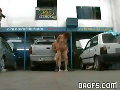 Slutty Argentinian redhead needs repair on her car and pussy