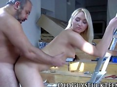 Teen blonde swallows old
