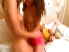 amazing lesbo teens from Russia kissing
