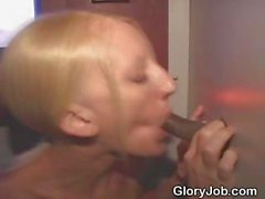 Blonde Gives Wicked Interracial Blowjob At Glory Hole