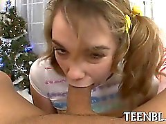Throat creampie for cute legal age teenager