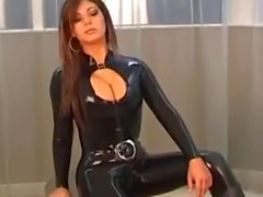 brunette modelling super sexy black latex