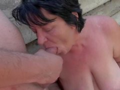 Chubby granny fucked by student outdoor