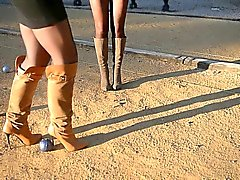 2 sluts playing with ball game: bootfetish & upskirt