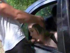 Teen gives handjob and fucked in car