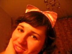 Really good homemade vid with a costumed kinky brunette