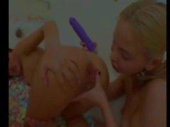 Girls in bath tube suck spread asshole