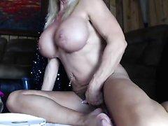 Sexy busty blonde fucks on beautiful big stairs
