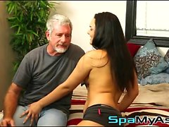 Teen masseur Paisley jerks off her filthy old grandpa