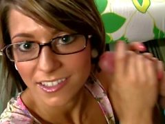 Cute girl with glasses huge facial