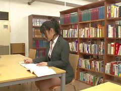 Handsome Asian schoolgirl seduces a hot lesbian teacher in library