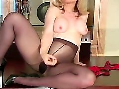 Pulling down fancy black dress makes this babe also horny