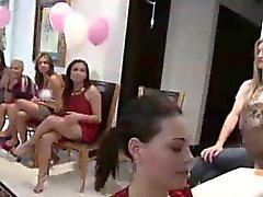 Group of CFNM amateurs sucking big cock at party