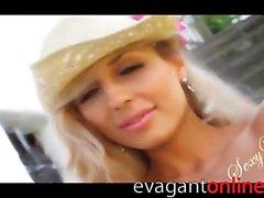 Desperate blonde on webcam