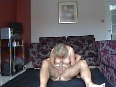 Blonde mature wife has 69 cowgirl and oral sex on floor