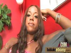 Hot ebony chick in interracial gangbang 25