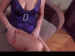 gloss pantyhose violet dress
