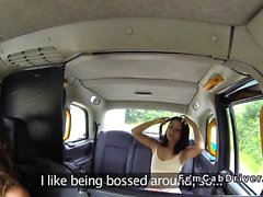 Lesbian flashing little ass in fake taxi