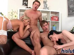 Raunchy foursome session with two lusty babes