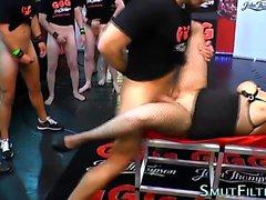 Kinky slut guzzles spunk