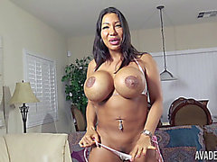 Ava Devine fucking her slit with a large rubber ramrod