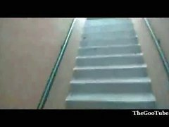 Hot blond fucked in a stairwell