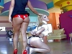 Pale blonde lezzie gets turned on by being dominated