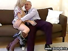 Blonde babe masturbates for old guy and loves it