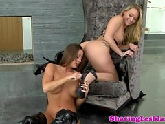 Leather lingerie lesbian pussylicks her gf