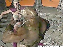 Hot Babe la historieta 3D follada duro por un monstruo de