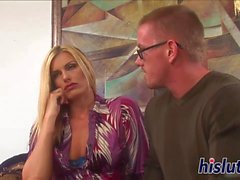 Bespectacled blonde bitch gets fucked hard
