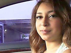 Sarai takes a ride on hot strangers car