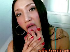 Asian foot goddess masturbating and shoing off her feet