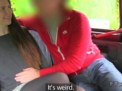 Long haired amateur bangs in a fake taxi