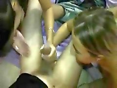 Double-Head #28 (Two Teens) On The Bed, More of a Handjob