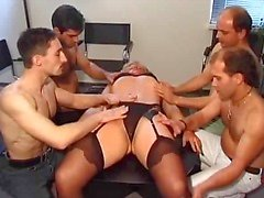 Amateur gang bang party with some mature slut