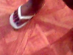BBW Ebony Feet In White Flip Flops
