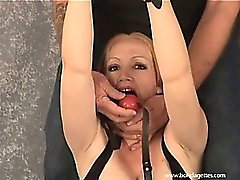 Amateur milf Tory tied in strict bondage and ballgagged in kinky homemade fetishes and sexy exposed lingerie rope works